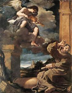 Guercino (Barbieri, Giovanni Francesco) - St Francis with an Angel Playing Violin