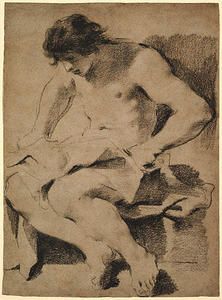 Guercino (Barbieri, Giovanni Francesco) - Study of a Seated Young Man