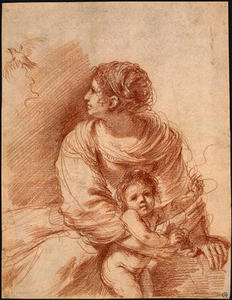 Guercino (Barbieri, Giovanni Francesco) - The Madonna and Child with an Escaped Goldfinch