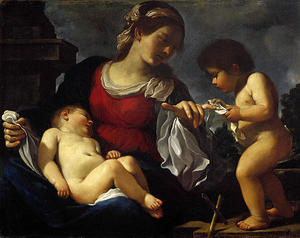 Guercino (Barbieri, Giovanni Francesco) - The Virgin and Child with the Infant Saint John the Baptist