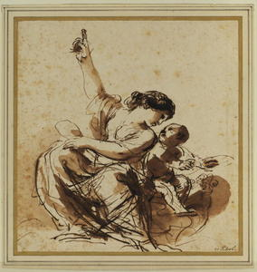Guercino (Barbieri, Giovanni Francesco) - Young mother, seated and pointing, with child
