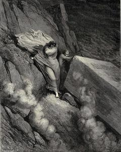 Paul Gustave Doré - The Inferno, Canto 11, lines 6-7. From the profound abyss, behind the lid Of a great monument we stood retir'd