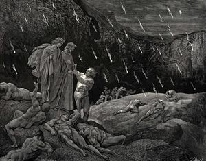"Paul Gustave Doré - The Inferno, Canto 15, lines 28-29. ""Sir! Brunetto! And art thou here"""