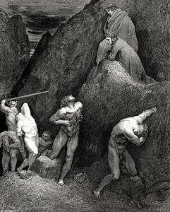 Paul Gustave Doré - The Inferno, Canto 28, lines 30,31. Now mark how I do rip me. lo! How is Mahomet mangled.