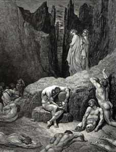 "Order Oil Painting : The Inferno, Canto 29, lines 4-6. But Virgil rous'd me. ""What yet gazest on. Wherefore doth fasten yet thy sight below Among the maim'd and miserable shades by Paul Gustave Doré (1832-1883, France) 