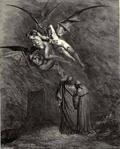 "Paul Gustave Doré - The Inferno, Canto 9, line 46. ""Mark thou each dire Erinnys."