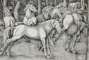 Hans Baldung - Stallion and Kicking Mare with Wild Horses