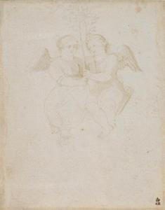 Hans Baldung - Two winged putti, a male and a female, together holding a branch with foliage