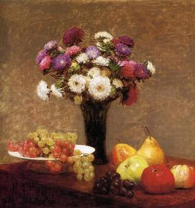 Henri Fantin Latour - Asters and Fruit on a Table