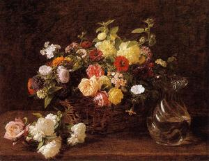 Henri Fantin Latour - Basket of Flowers