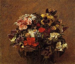 Henri Fantin Latour - Bouquet of Flowers. Pansies
