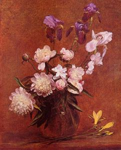 Henri Fantin Latour - Bouquet of Peonies and Iris