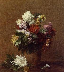 Henri Fantin Latour - Large Bouquet of Chrysanthemums