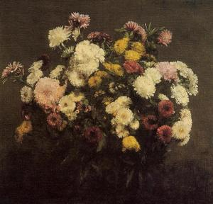 Henri Fantin Latour - Large Bouquet of Crysanthemums