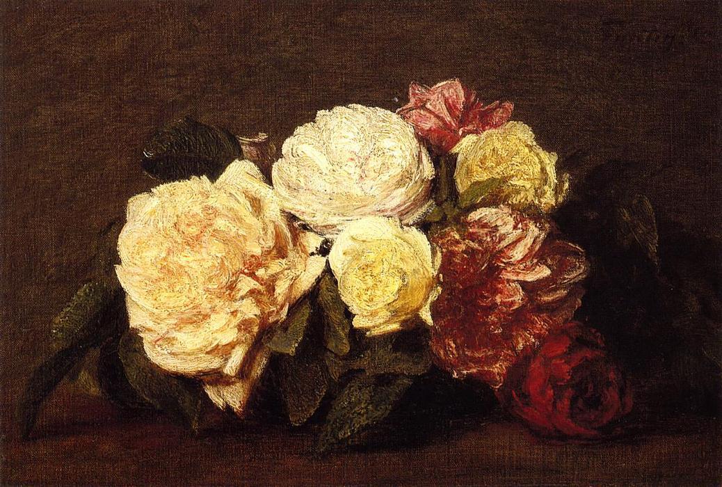roses 7 oil by henri fantin latour 1836 1904 france. Black Bedroom Furniture Sets. Home Design Ideas