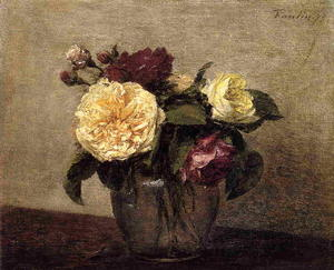 Henri Fantin Latour - Yellow and Red Roses