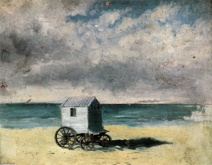 Bathing Hut, Oil by James Ensor (1860-1949, Belgium)
