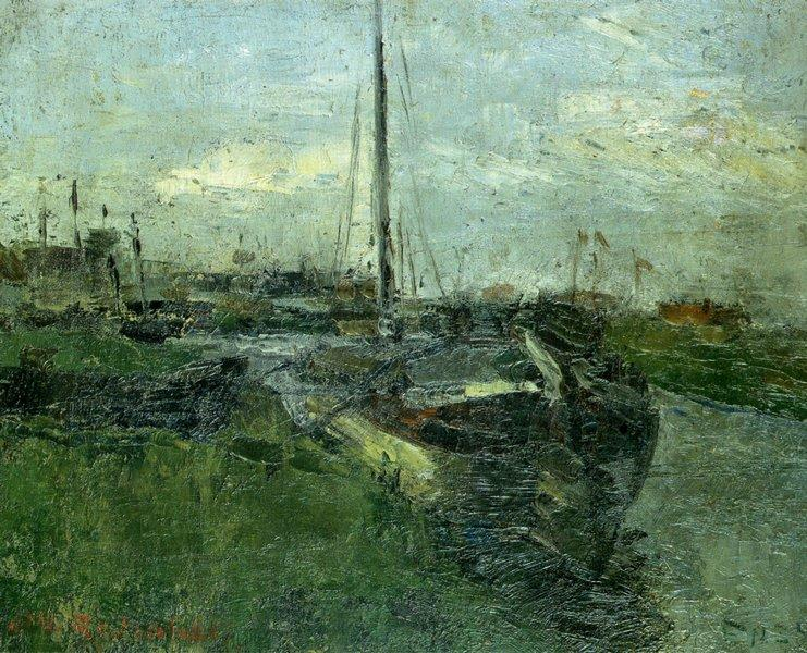 Canal aux peniches, Oil by James Ensor (1860-1949, Belgium)