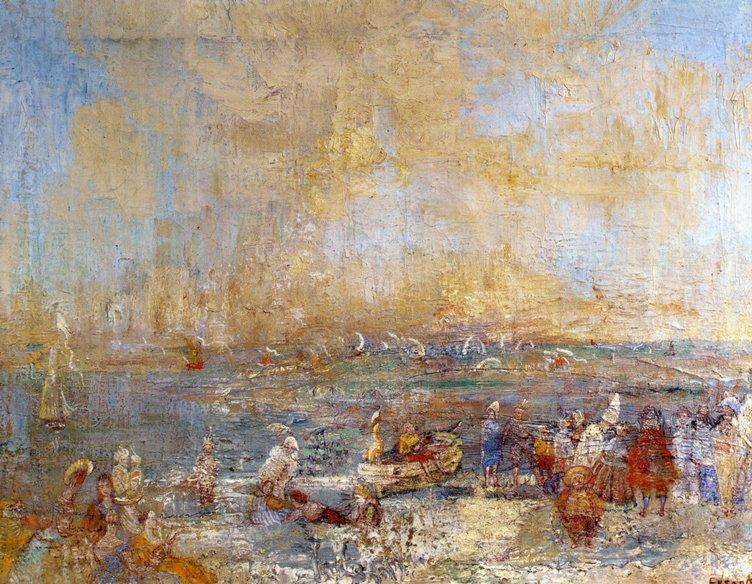 Carnaval sur la plage, Oil by James Ensor (1860-1949, Belgium)
