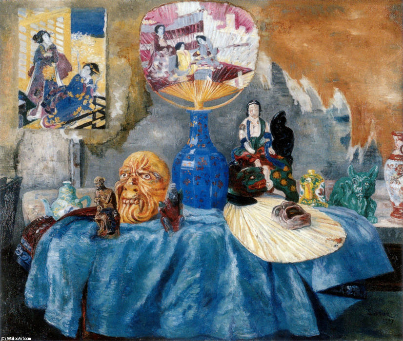 Chinoiseries, Oil by James Ensor (1860-1949, Belgium)