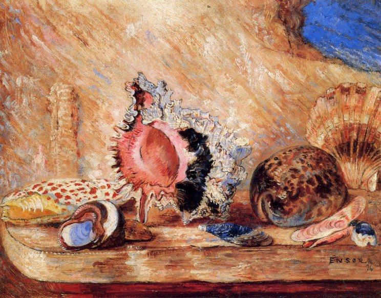 Coquillages, Oil by James Ensor (1860-1949, Belgium)