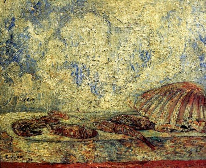Crevettes et coquillages, Oil by James Ensor (1860-1949, Belgium)