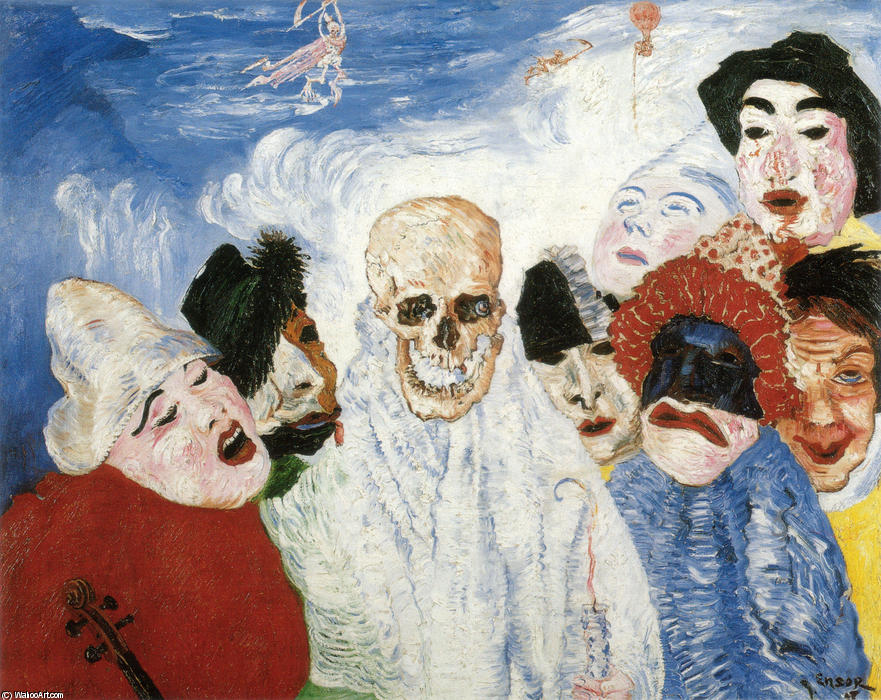 Death and the Masks, Oil by James Ensor (1860-1949, Belgium)