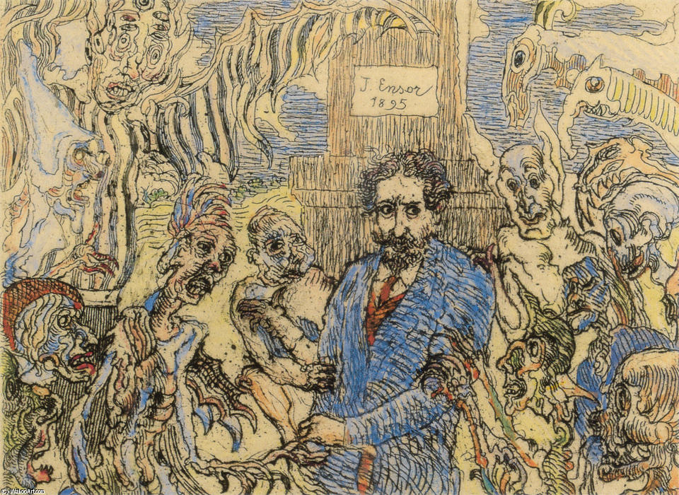 Demons Teasing Me by James Ensor (1860-1949, Belgium) | WahooArt.com