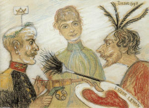 James Ensor - Ensor and General Leman Discussing Painting 1