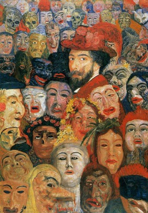 Ensor aux masques, Oil by James Ensor (1860-1949, Belgium)