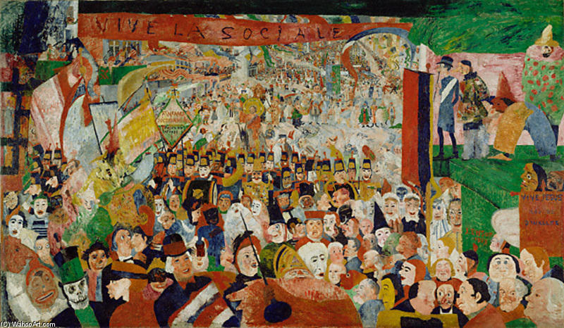Entry of Christ Into Brussels, Oil by James Ensor (1860-1949, Belgium)