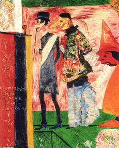 James Ensor - Figures in Front of the Playbill of La Gamme d'Amour
