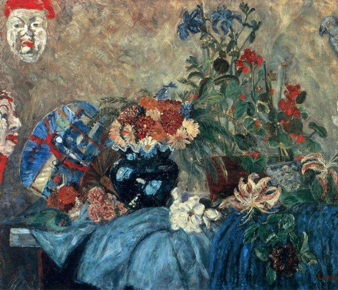 Fleurs et masques, Oil by James Ensor (1860-1949, Belgium)