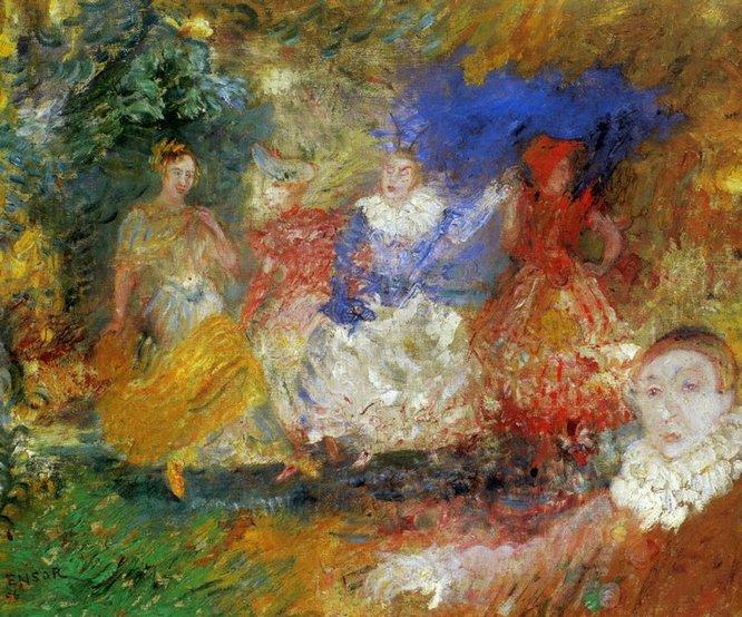 Les Ballerines by James Ensor (1860-1949, Belgium) | Famous Paintings Reproductions | WahooArt.com