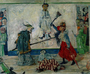 James Ensor - Masks Fighting over a Hanged Man