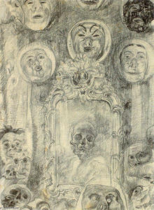 James Ensor - Mirror with Skeleton