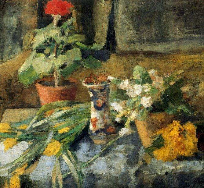Nature morte au geranium, Oil by James Ensor (1860-1949, Belgium)