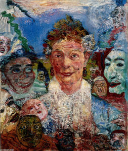 James Ensor - Old Woman with Masks
