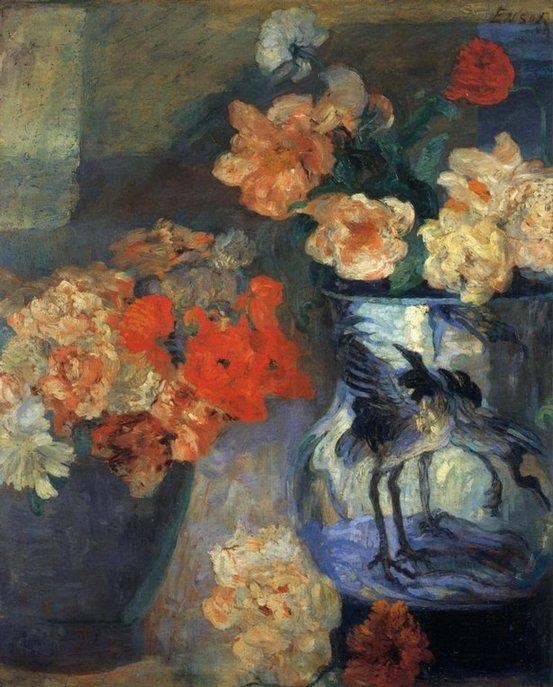Pivoines et pavots, Oil by James Ensor (1860-1949, Belgium)