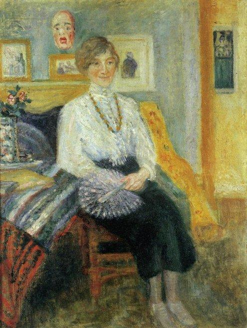 Portrait d' Augusta Boogaerts assise ou La Sirene, Oil by James Ensor (1860-1949, Belgium)