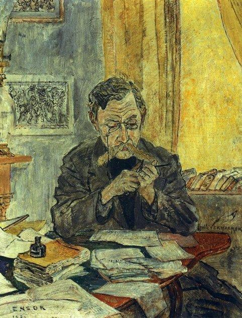 Portrait d' Emile Verhaeren, Oil by James Ensor (1860-1949, Belgium)