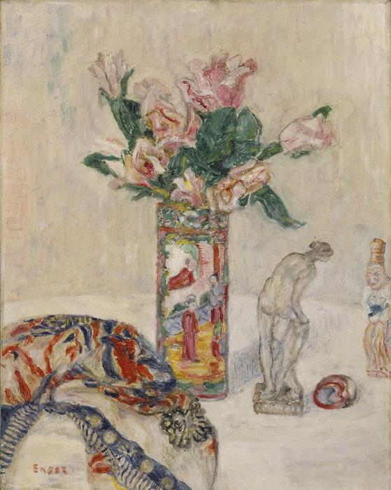Still Life with Vase of Flowers, Oil by James Ensor (1860-1949, Belgium)