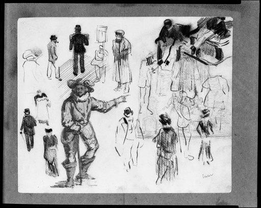 Street Scene and Man in Historic Costume; verso. Study Sheet, Oil by James Ensor (1860-1949, Belgium)