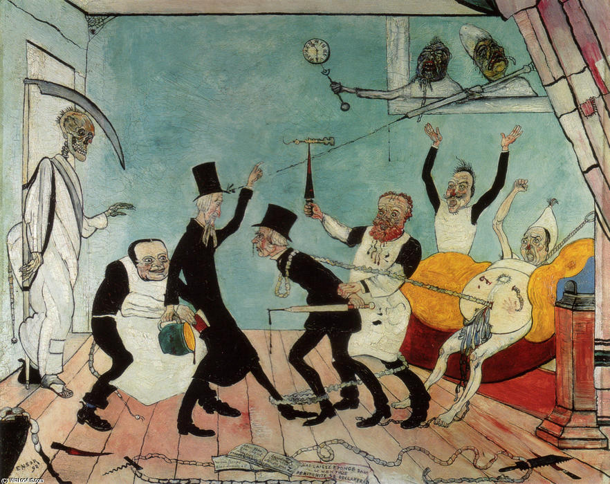 The Bad Doctors, Oil by James Ensor (1860-1949, Belgium)
