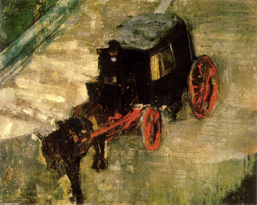 The Cab, Engraving by James Ensor (1860-1949, Belgium)