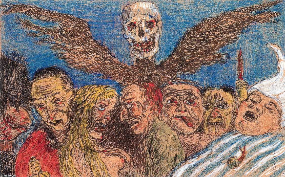 The Deadly Sins Dominated by Death, Oil by James Ensor (1860-1949, Belgium)