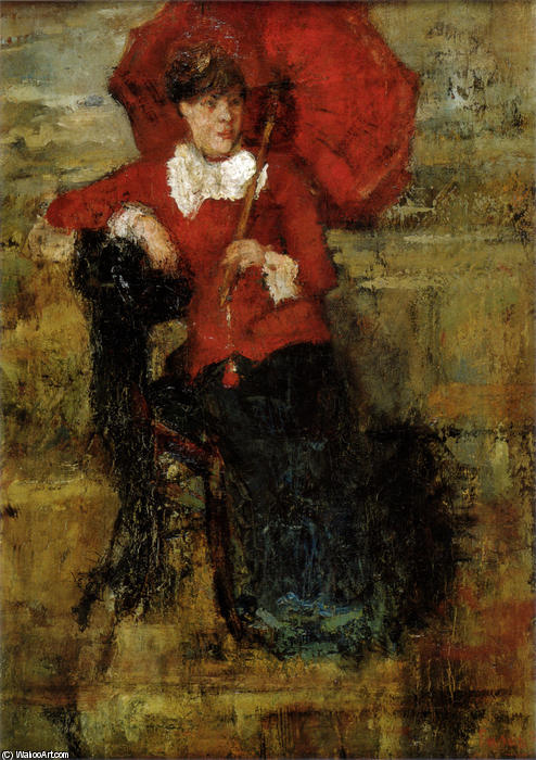 The Lady with the Red Parasol, Oil by James Ensor (1860-1949, Belgium)