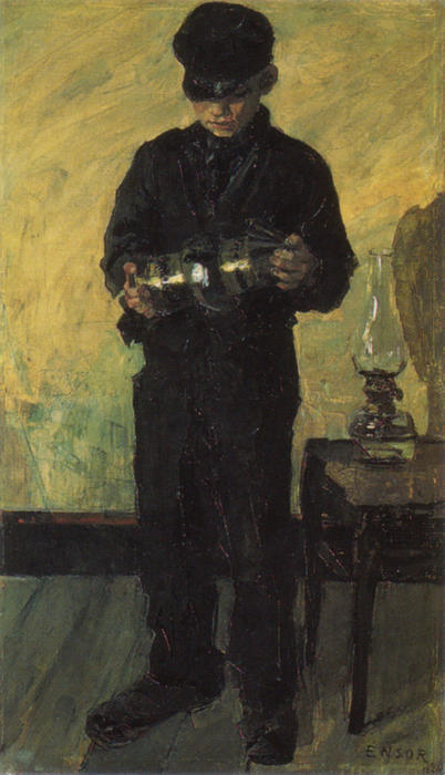 The Lamp-Boy (The Lamplighter) by James Ensor (1860-1949, Belgium) | WahooArt.com