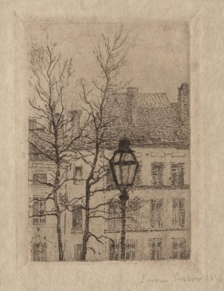 The Street Lamp by James Ensor (1860-1949, Belgium) | Museum Quality Reproductions | WahooArt.com