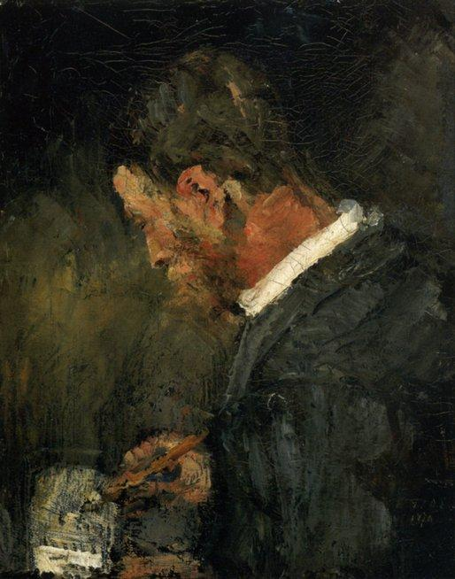 Willy Finch dessinant, Oil by James Ensor (1860-1949, Belgium)